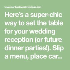 Here's a super-chic way to set the table for your wedding reception (or future dinner parties!). Slip a menu, place card, single bud, or set of utensils into the decorative pouch.