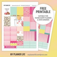 Free coffee & donuts printable for your #happyplanner #planner #printable #free #mambiplanner #mambi #erincondren #mambihappyplanner #planneraddict