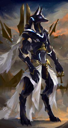 ArtStation – Futuristic Anubis, Oviya Vendan – – Pin to pin Fantasy Characters, Character Art, Fantasy Art, Creature Art, Egyptian Art, Art, Anubis, Dark Fantasy Art, Mythical Creatures Art