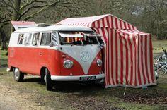 A split-bus with a side-enclosed tent. & Original complete VW bus orange/white Westfalia tent u0026 poles ...