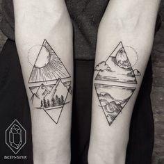 Tattoos geometric earth tattoo, geometric mountain tattoo, geometric tattoo l Nature Tattoos, Lower Back Tattoos, Tattoos, Couple Tattoos, Cute Tattoos, Beautiful Tattoos, Ink, Geometric Tattoo, Tattoo Designs
