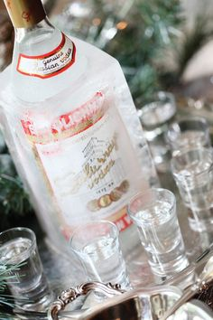 Vodka bottle frozen in a milk carton filled with water. Once the milk carton is removed, the vodka sits all evening in a chilled block of ice