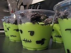 Frankenstein Halloween Treats. Vanilla pudding & Oreos. Peanut Allergy Safe.