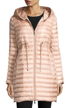 """Barbel Hooded Puffer Coat by Moncler. Moncler """"Barbel"""" puffer coat. Approx. 33""""L at back. Hooded collar; two-way zip front. Long sleeves. Self-tie belt at ..."""