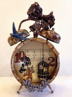 Compendium of Curiosities 3, Challenge #10 - Assemblage Clock - Cheryl Grigsby
