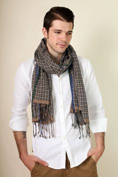 1729a77f1 Men's Tokyo Tricolor Checkered Natural Cotton Fashion Scarf (Blue) at Amazon  Men's Clothing store. /Men's Scarves. Mens Gift Ideas. Holiday Gifts.