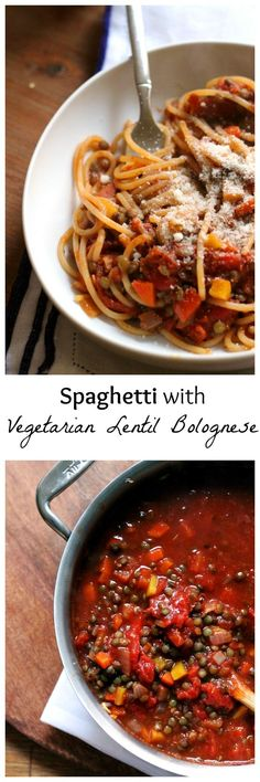 You won't miss the meat in this recipe for spaghetti with vegetarian lentil bolognese. Extra hearty and totally veggie-filled, it is full of healthy comfort.