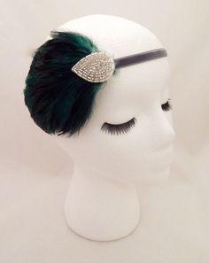 The Elsie - green art deco headpiece, holiday party headband, dark green feather fascinator, 1920s art deco accessories, silver green deco