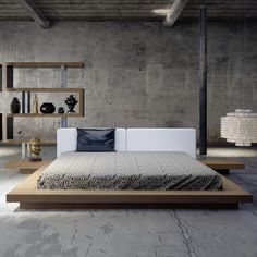 "[Featuring the ""Worth Bed"" by Modloft, designed by Ted Toledano] I love this whole look... but especially the wonderful zigzag-shaped shelving unit the background. The Japanese-inspired Worth platform bed features a low profile walnut hardwood frame with matching symmetrical nightstands. An upholstered dusty white bonded leather headboard compliments this lavish feng shui bed."