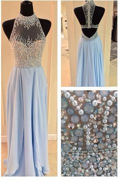 Beaded high neck chiffon prom dress with beautiful top details, long evening dress for teens