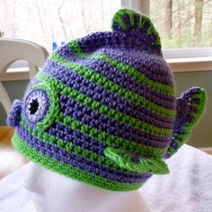 pattern info here: http://crochetbydarleenhopkins.com/patterns/hat-fish-kissy-kissy-fish-face/ Charity crocheted chemo hat donated to Halos of Hope and their  Stitches South 2013 challenge #halosofhope