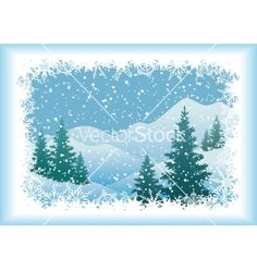 Winter mountain landscape with fir trees vector 2013907 - by oksanaok on VectorStock®