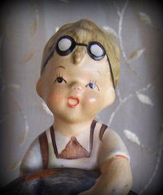 "Napco ""Boots"" SH1 B  Bisque figurine Little boy boot maker Vintage home decor Vintage Napco figurine"