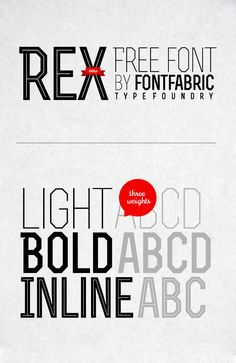 Rex is a font family with three weights – light, bold and bold inline – that was designed to create unique titles on the fly. It's all caps font, but there is a difference between both – caps & small caps (see in the examples). Applicable for any type of graphic design – web, print, motion graphics etc and perfect for t-shirts and other items like posters, logos. Cyrillic version is included. Have fun!