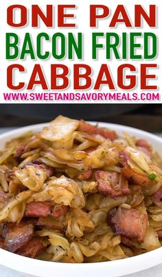 Bacon Fried Cabbage is delicious and super easy to make with only a few ingredients. It is flavorful and ready in less than 30 minutes! Easy Bacon Fried Cabbage - Sweet and Savory Meals Cooked Cabbage Recipes, Bacon Fried Cabbage, Sauteed Cabbage, Onion Recipes, Sausage Recipes, Cooking Recipes, Healthy Recipes, Recipe For Fried Cabbage, How To Chop Cabbage