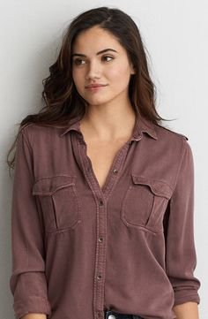 AEO Military Button Down Shirt  by  American Eagle Outfitters | Keep your look at ease and ready-for-anything with this flowy button down.  Shop the AEO Military Button Down Shirt  and check out more at AE.com.