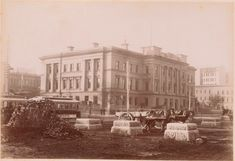 #Melbourne Customs House (built 1876) as viewed from Queen's Wharf c.1890. Note the wood block pavers used extensively in Melbourne c.1890s-1930s, when they were mostly ripped up, the old tar-impregnated blocks becoming a popular substitute for firewood. In 1954 the Council distributed 500 tons to pensioners for winter fuel. Remnant sections could still be found at the end of the 20th century in some tram reserves. Customs House, House Built, Wood Blocks, Firewood, 1930s, Melbourne, Old Things, Street View, Victoria