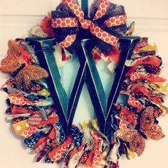 Fall Thanksgiving Initial Fabric Wreath