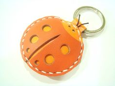 Leather Keychain  Penny the ladybug leather charm by leatherprince, $17.90.     This should be mine!!