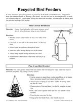 Follow these instructions to build simple birdhouses out of recycled materials. https://www.teachervision.com/handicrafts/printable/39790.html #EarthDay #crafts