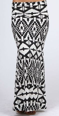Black and White Aztec Print Maxi Skirt #Aztec #Cozy Couture