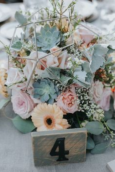 Hottest 7 Spring Wedding Flowers to Rock Your Big Day-Geode + succulent wedding centerpiece with pink and peach flowers and wooden table number, spring wedding flowers of roses sunflowers and daisy, diy wedding centerpieces Succulent Wedding Centerpieces, Wedding Flower Arrangements, Floral Centerpieces, Wedding Bouquets, Centerpiece Ideas, Succulant Wedding, Rose Gold Centerpiece, Flower Centrepieces, Table Arrangements