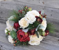 Victorian Inspired Winter Wedding Bouquet by Holly's Wedding Flowers.