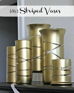 Spray Painted Vases using Rubber Bands for Design - from Hi Sugarplum