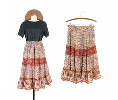 VIntage Indian Skirt, India Cotton Gauze Skirt, Floral Boho Hippie Skirt -- Womens M / L / XL by ImprovGoods on Etsy