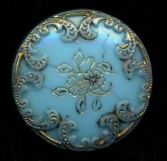 Antique Button… Incised Floral Victorian Glass…Turquoise Glass