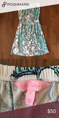 {Lilly Pulitzer} Atwood Strapless Dress Great condition! Beautiful strapless dress. Elasticized at waist and top hem, so stays on well. Light and breezy! Lilly Pulitzer Dresses Strapless