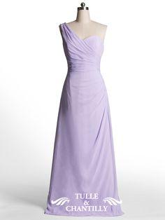 Simple Column One Shoulder Warped Long Pastel Lilac Bridesmaid Dress 1