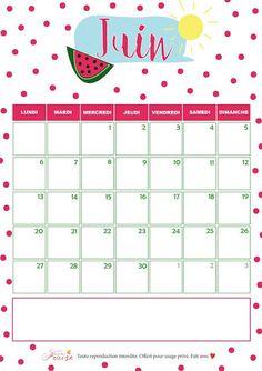 1000 id es sur le th me calendriers mensuels sur pinterest agendas calendriers imprimer et - Calendrier du mois de juin 2017 ...