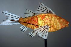 Journey Koi Light Sculpture: Lara Fisher: Mixed-Media Floor Lamp - Artful Home Fish Sculpture, Sculptures, Light Art, Light Bulb, Vintage Maps, Paper Lanterns, Wire Art, Lampshades, Floor Lamp