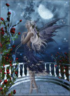 Elfe sur le balcon au clair de lune...