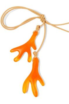 Dinosaur Designs - Coral Fan Resin Necklace - Orange - one size