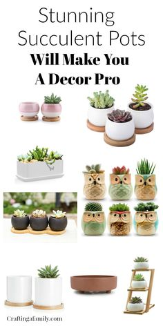 I have been in love with succulent plants from when I was little and my mom had Hens & Chicks in her garden. They come in so many fun shapes and are so easy to keep - you just have to ignore them. Here are 15 unique succulent pots plus planting supplies you will need to bring beautiful succulents into your home for a DIY indoor garden. #succulents #succulent #plantingpots #succulentpots #hensandchicks #garden #indoorgarden #diygarden #craftingafamily.