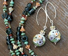 Statement necklace and earrings jewelry by MayaHoneyJewelry