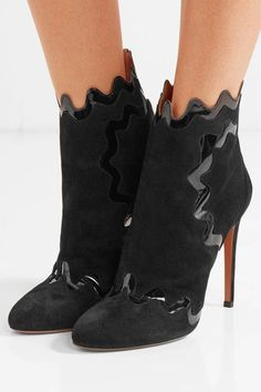 Heel measures approximately 115mm/ 4.5 inches Black suede and patent-leather…