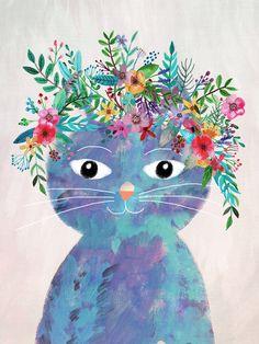 CAT WITH FLOWERS ON THE HEAD, Mia Charro