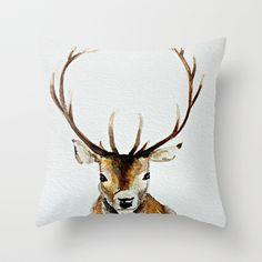 Buck+-+Watercolor+Throw+Pillow+by+craftberrybush+-+$20.00