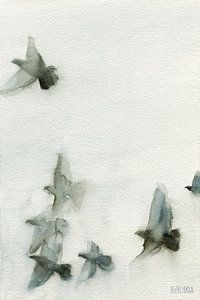 Black And White Painting - A Flock Of Pigeons 1 Watercolor Painting Of Birds by Beverly Brown Prints