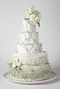 Maggie Austin beaded and ruffled #weddingcake