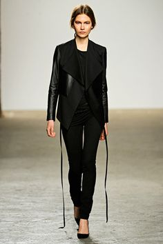 love this leather jacket with clean lines drape