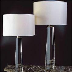 Base para Abajur em Metal e Vidro Cristal - Bella Iluminação