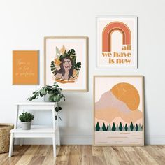 May 2020 - Gallery Wall Set Burnt Boho Living Room Wall Decor Orange Boho Living Room Decor, Boho Bedroom Decor, Boho Room, Room Wall Decor, Living Room Art, Wall Decor Boho, Bedroom Art, Modern Bedroom, Orange Wall Art