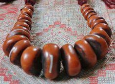 Antique dark amber necklace, Tuareg