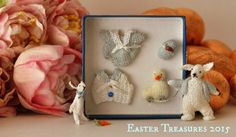 Blue Easter Box Set by Jenny Tomkins Mice, Dollhouse Miniatures, Artisan, Bunny, Easter, Box, Frame, Handmade, Picture Frame