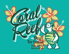 Turtle island coral reef vector artwork for summer kids wear in custom colors Stock Vector