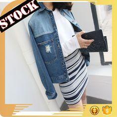 L830 Wholesale Fashion Clothing 2017 Women Denim Jacket Fall and Winter Split Joint Jean Coats Plus Size Women Clothing